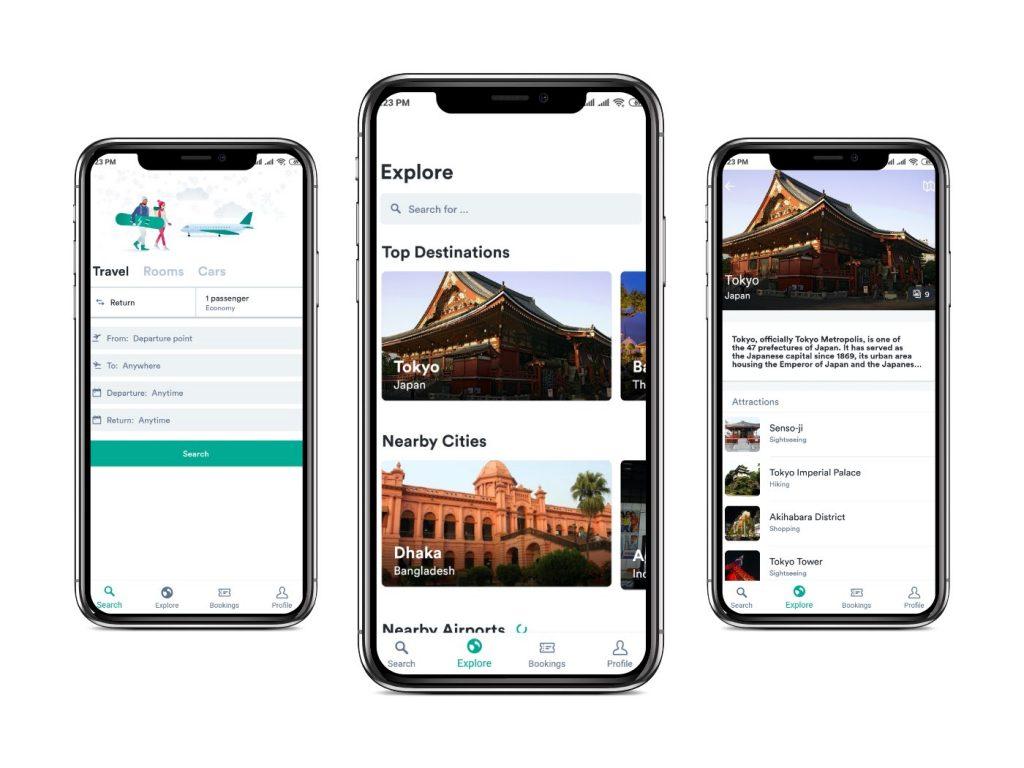 Kiwi app Interfaces|cheapest flight apps