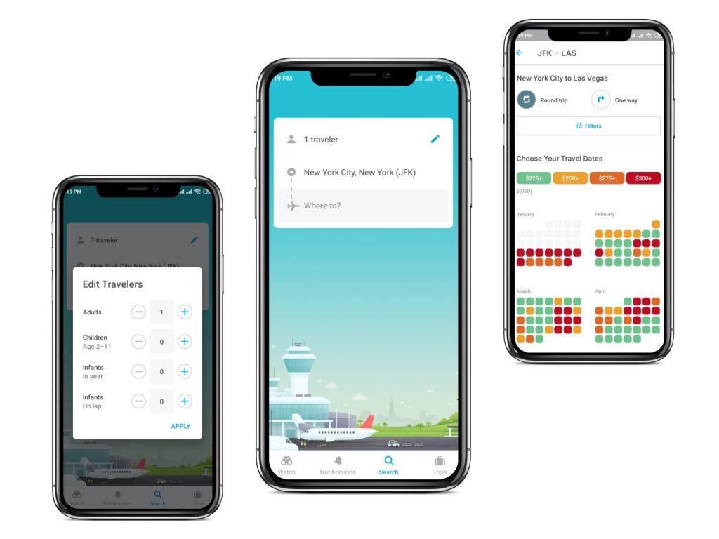 Hopper app Interfaces|cheapest flight apps