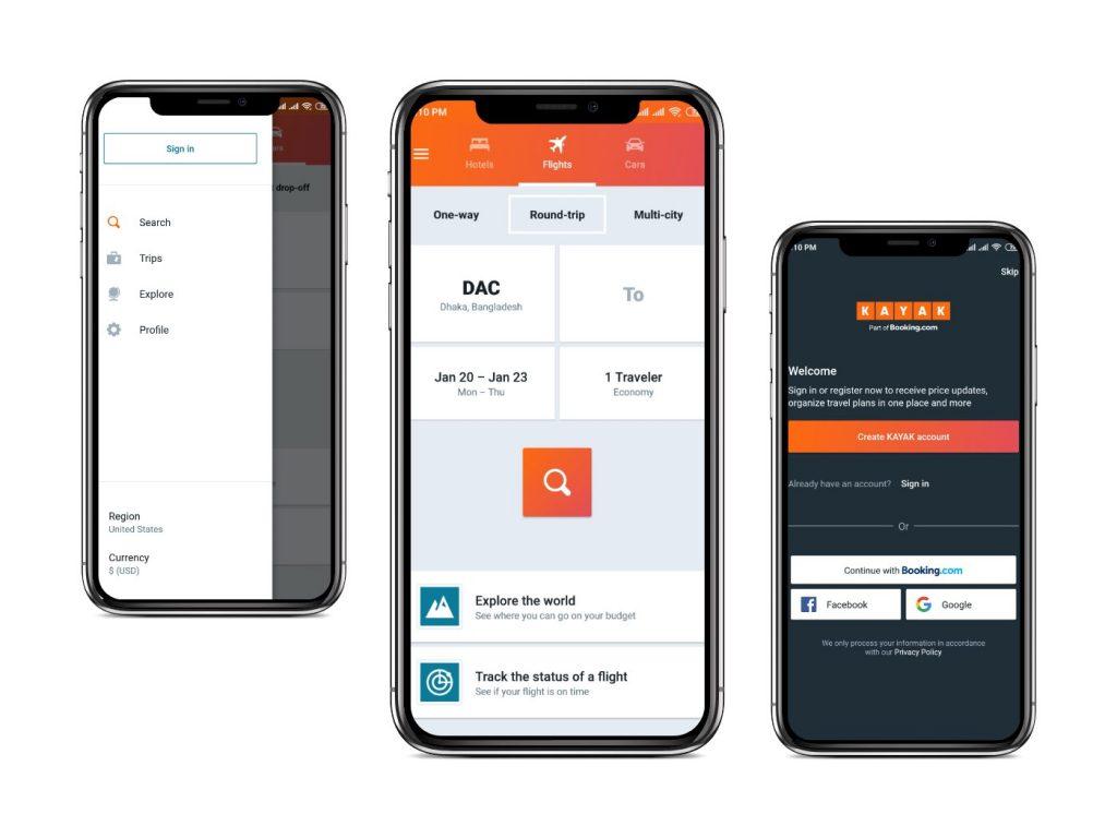 Kayak app Interfaces|cheapest flight apps