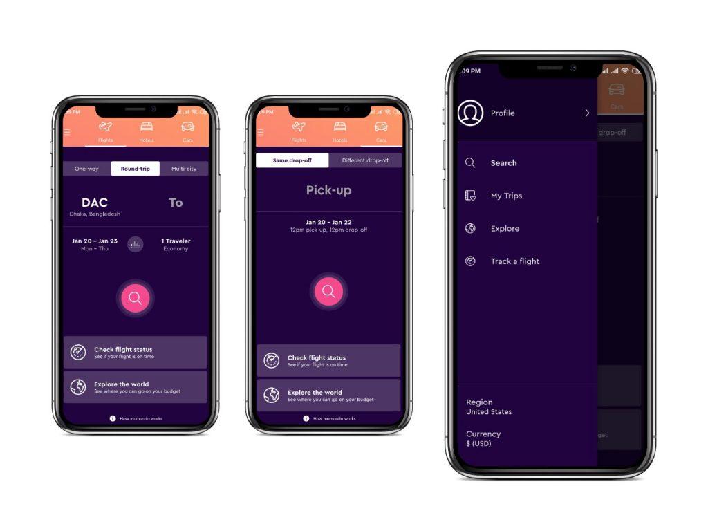 Momondo app Interfaces|cheapest flight apps